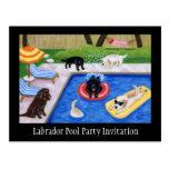 Fiesta en la piscina Labradors Tarjetas Postales