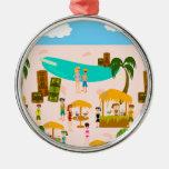 Fiesta en la piscina maravillosa del jet set adorno navideño redondo de metal