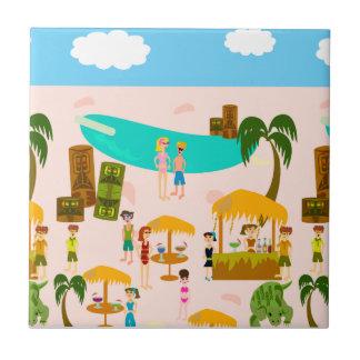 Fiesta en la piscina maravillosa del jet set azulejos cerámicos