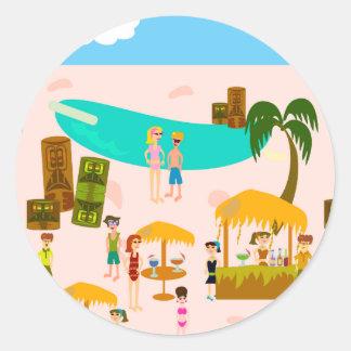 Fiesta en la piscina maravillosa del jet set pegatina redonda