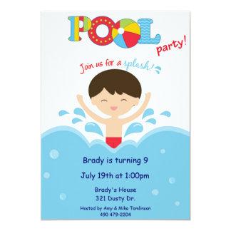 Fiesta en la piscina - muchacho invitación 12,7 x 17,8 cm