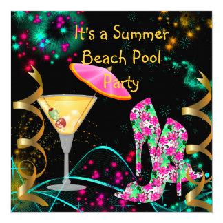 """Fiesta en la piscina negra rosada de la playa del invitación 5.25"""" x 5.25"""""""