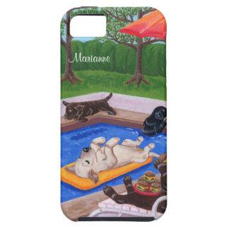 Fiesta en la piscina personalizada Labradors 2 iPhone 5 Carcasas