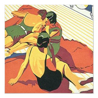 """Fiesta en la piscina retra del ~ de la playa del ~ invitación 5.25"""" x 5.25"""""""