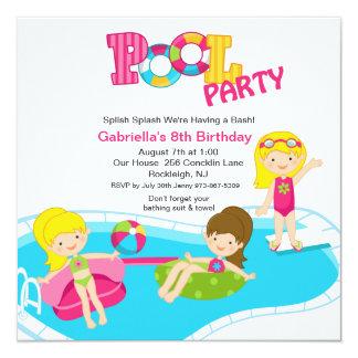 Fiesta en la piscina rosada toda la invitación del