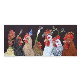 Fiesta en la tarjeta plana del gallinero #2 invitación 10,1 x 23,5 cm
