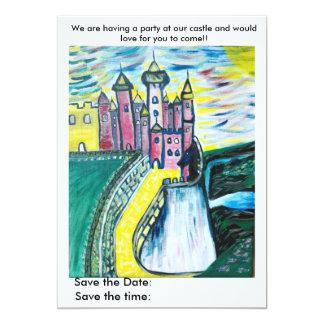 """Fiesta en nuestro castillo invitación 5"""" x 7"""""""