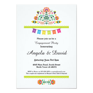 Fiesta Engagement Mexico Pattern Wedding Invites
