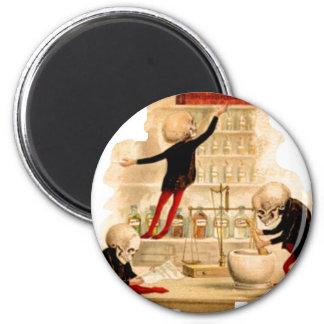 Fiesta enojado esquelético Deco de Halloween del c Imán Redondo 5 Cm