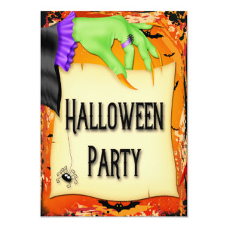 """Fiesta espeluznante de Halloween de la mano de la Invitación 5"""" X 7"""""""