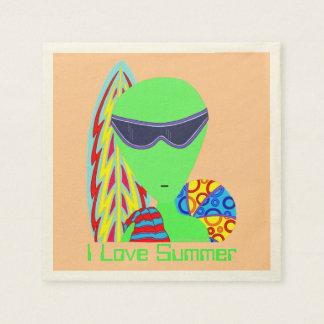 Fiesta extranjero del verano del amor de las servilleta de papel