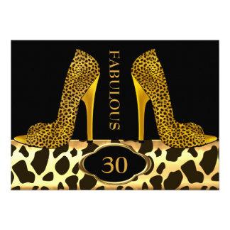 Fiesta fabuloso de 30 del leopardo del oro tacones comunicado personalizado