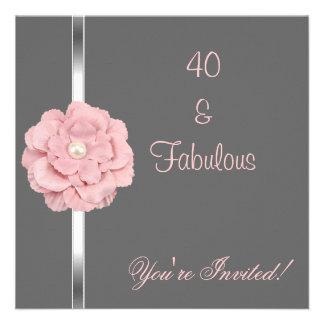 Fiesta fabuloso de la flor blanca rosada gris de l comunicado personal