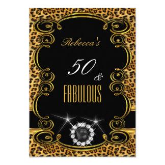 Fiesta fabuloso de la perla del negro del oro de invitacion personalizada
