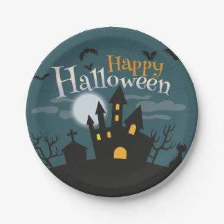 Fiesta fantasmagórico de Halloween de la casa Plato De Papel De 7 Pulgadas