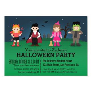 """Fiesta fantasmagórico lindo de Halloween de los Invitación 4.5"""" X 6.25"""""""