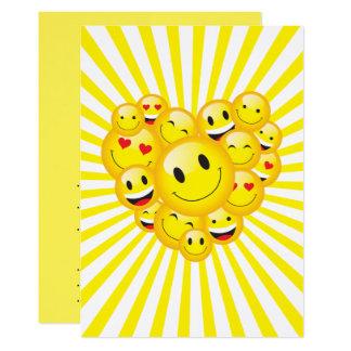 """Fiesta feliz amarillo del delirio de las caras de invitación 5"""" x 7"""""""