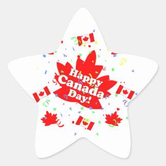 Fiesta feliz del día de Canadá Pegatina En Forma De Estrella