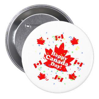 Fiesta feliz del día de Canadá Pin Redondo De 3 Pulgadas