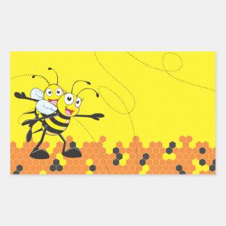 Fiesta feliz del hijo del papá de la abeja que pegatina rectangular