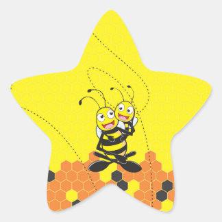 Fiesta feliz del hijo del papá de la abeja que pegatina en forma de estrella