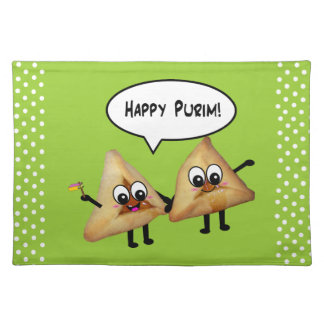 Fiesta feliz Platecmats - verde de Purim Mantel Individual
