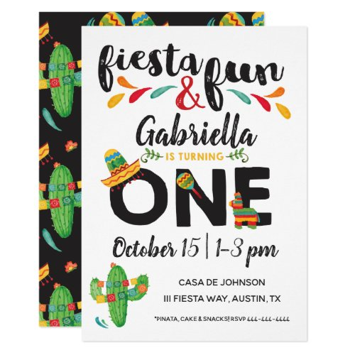 Fiesta First Birthday Invitation