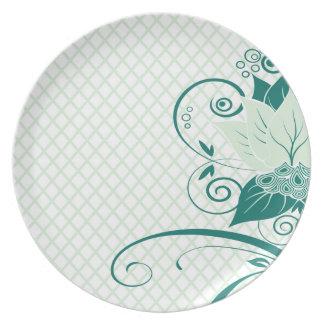 Fiesta floral abstracto de la menta de la red el | platos para fiestas