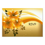 Fiesta floral del negro elegante del oro de RSVP Invitacion Personal