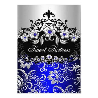 """Fiesta floral negro de plata de la joya del azul invitación 5"""" x 7"""""""
