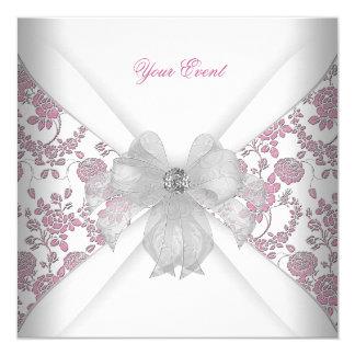 """Fiesta floral rosado blanco del arco de la joya invitación 5.25"""" x 5.25"""""""