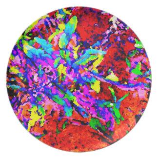 Fiesta Flowers Abstract Pop Art Photo Wall Decor Plates
