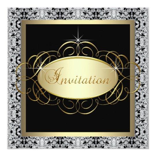 """Fiesta formal de plata del acontecimiento especial invitación 5.25"""" x 5.25"""""""
