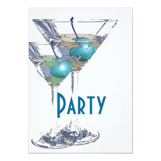 """Fiesta formal elegante blanco azul invitación 5"""" x 7"""""""