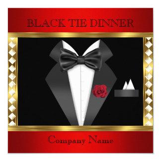 """Fiesta formal rojo del lazo negro del oro del invitación 5.25"""" x 5.25"""""""