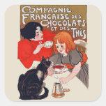 Fiesta francés del chocolate calcomanías cuadradass