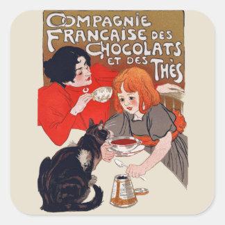 Fiesta francés del chocolate pegatina cuadrada