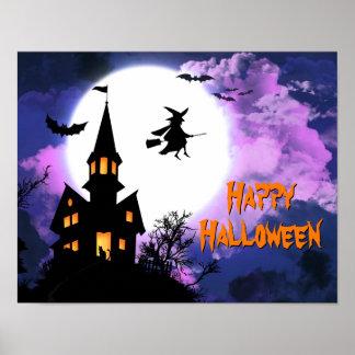 Fiesta frecuentado asustadizo de Halloween de la b Posters