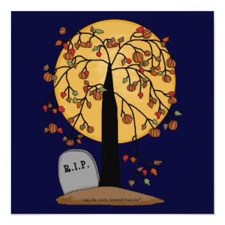 """Fiesta frecuentado de Halloween del cementerio Invitación 5.25"""" X 5.25"""""""