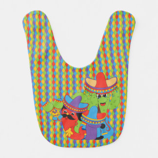 Fiesta Friends Mexican Guitarist, Cactus & Chili Baby Bibs