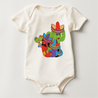 Fiesta Friends Mexican Guitarist, Cactus & Chili Baby Bodysuit