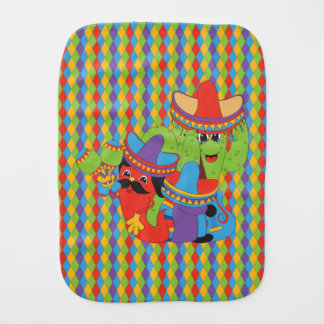Fiesta Friends Mexican Guitarist, Cactus & Chili Baby Burp Cloth