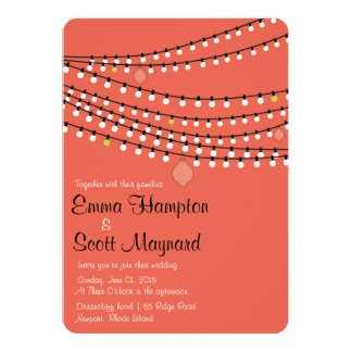 Fiesta garden lights coral wedding invitation