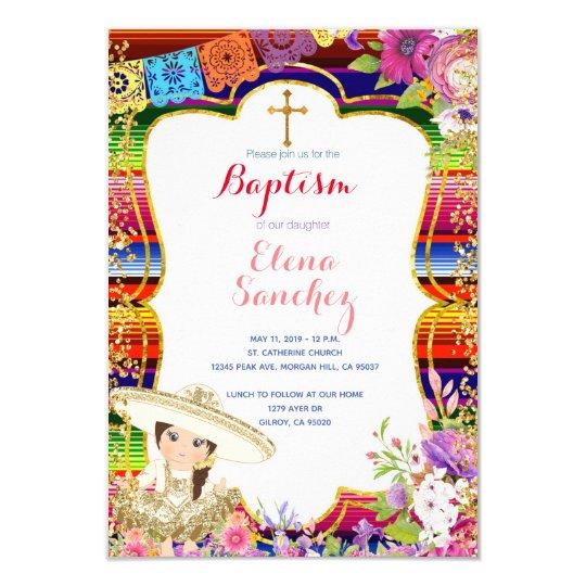 Fiesta Girl Baptism Christening Invitation Card