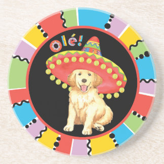 Fiesta Golden Retriever Drink Coaster