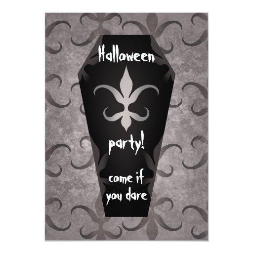 """Fiesta gótico elegante 5x7 de Halloween del ataúd Invitación 5"""" X 7"""""""