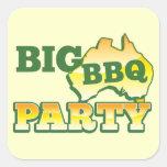 Fiesta grande AUSTRALIANO del Bbq Pegatina Cuadrada