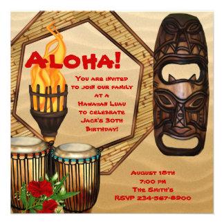 Fiesta hawaiano de Luau de la fiesta de cumpleaños Invitacion Personal