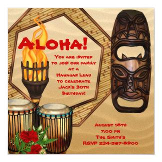 """Fiesta hawaiano de Luau de la fiesta de cumpleaños Invitación 5.25"""" X 5.25"""""""