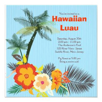 """Fiesta hawaiano de Luau de las bebidas tropicales Invitación 5.25"""" X 5.25"""""""